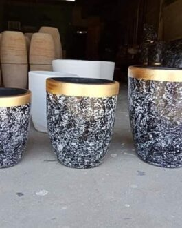 Medium Batik Black and White Clay Pot