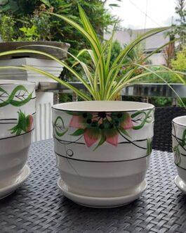 Elegant Ceramic Plant Pots with Tray – Set of 3 Small, Medium, Large Size